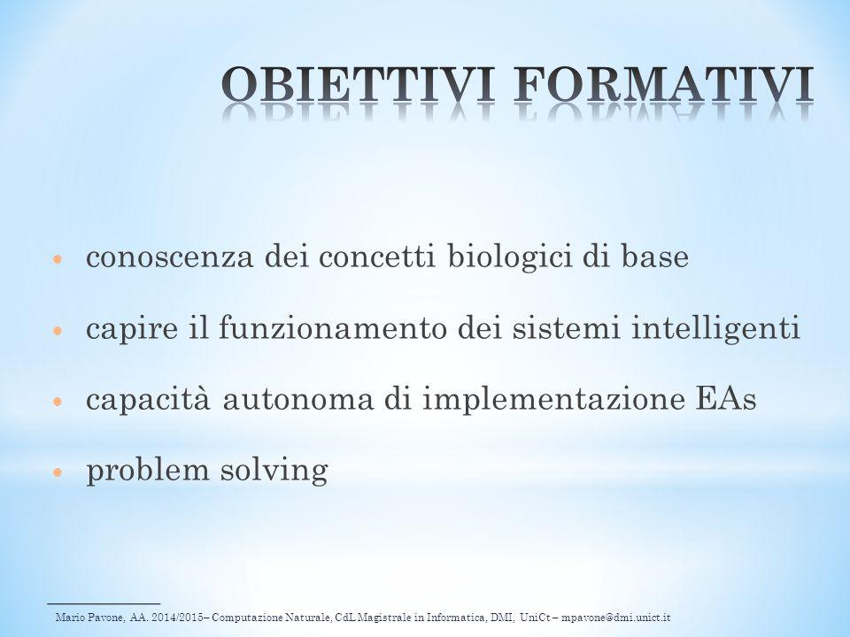 Mario Pavone, AA. 2014/2015– Computazione Naturale, CdL Magistrale in Informatica, DMI, UniCt – mpavone@dmi.unict.it conoscenza dei concetti biologici