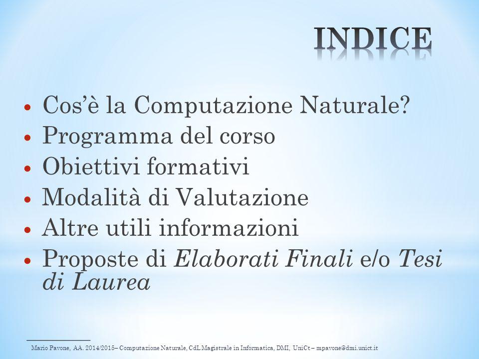 Mario Pavone, AA. 2014/2015– Computazione Naturale, CdL Magistrale in Informatica, DMI, UniCt – mpavone@dmi.unict.it Cos'è la Computazione Naturale? P