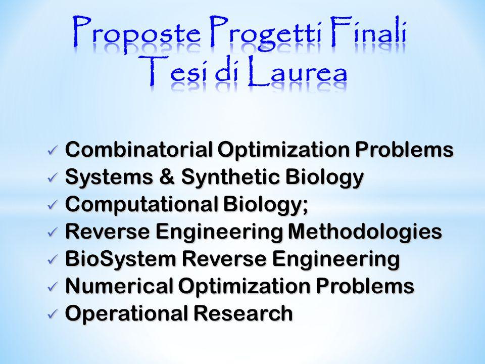 Combinatorial Optimization Problems Combinatorial Optimization Problems Systems & Synthetic Biology Systems & Synthetic Biology Computational Biology;