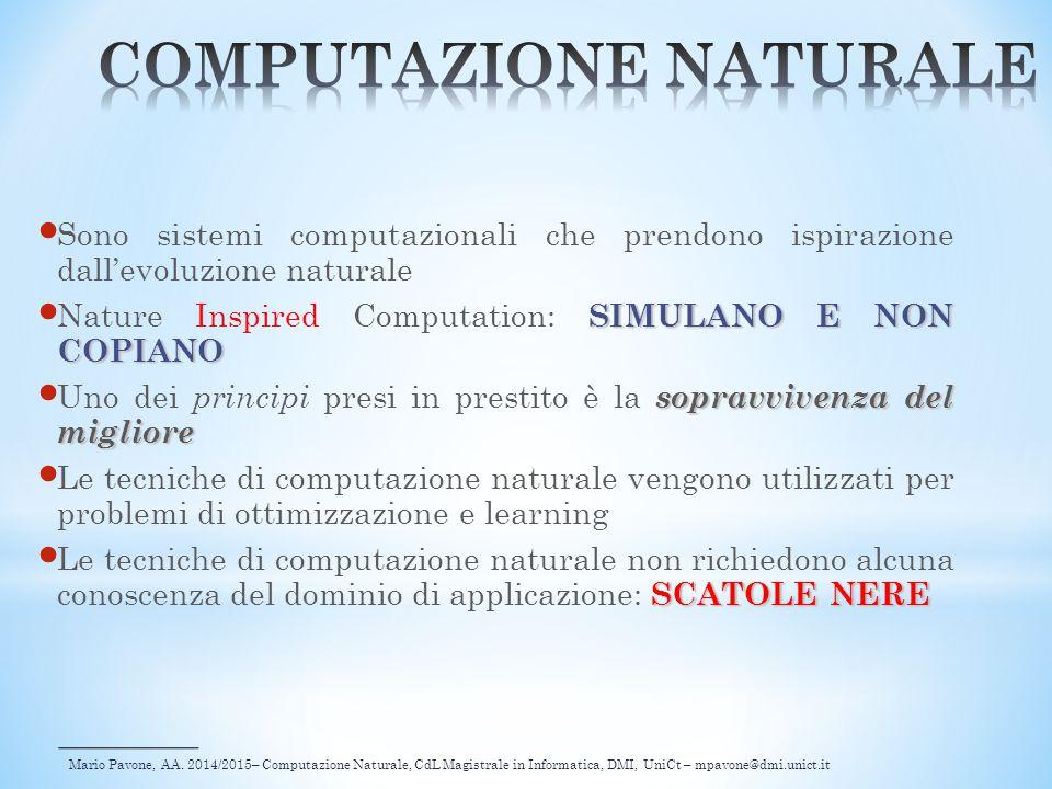Mario Pavone, AA. 2014/2015– Computazione Naturale, CdL Magistrale in Informatica, DMI, UniCt – mpavone@dmi.unict.it Sono sistemi computazionali che p