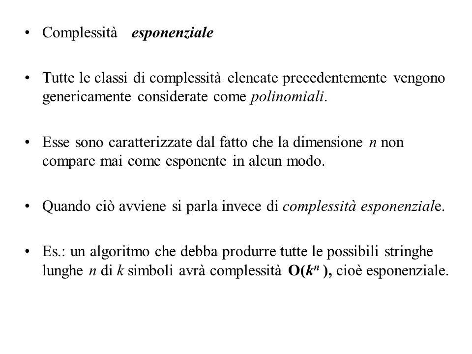 Complessità esponenziale Tutte le classi di complessità elencate precedentemente vengono genericamente considerate come polinomiali. Esse sono caratte