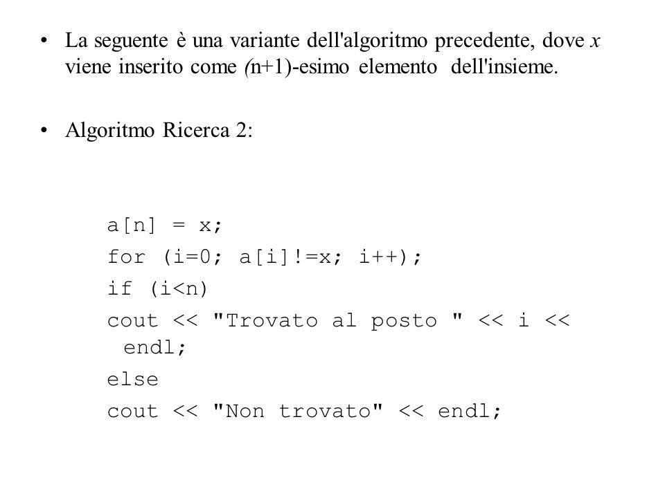 La seguente è una variante dell'algoritmo precedente, dove x viene inserito come (n+1)-esimo elemento dell'insieme. Algoritmo Ricerca 2: a[n] = x; for