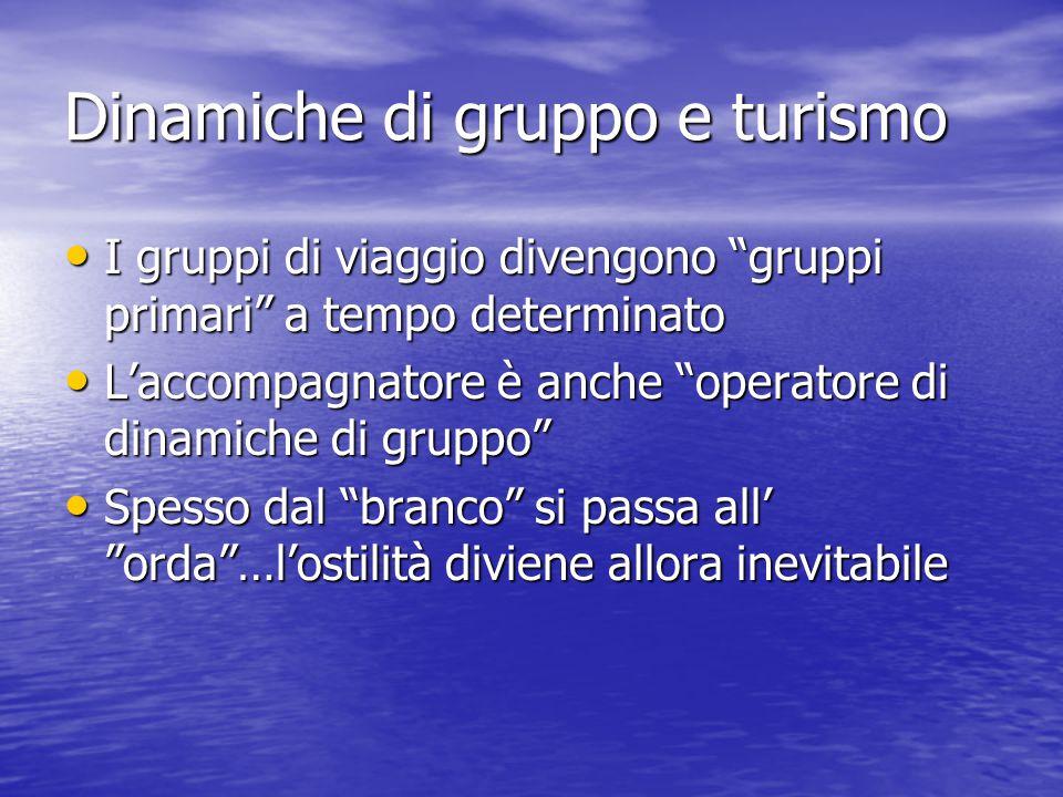 """Dinamiche di gruppo e turismo I gruppi di viaggio divengono """"gruppi primari"""" a tempo determinato I gruppi di viaggio divengono """"gruppi primari"""" a temp"""