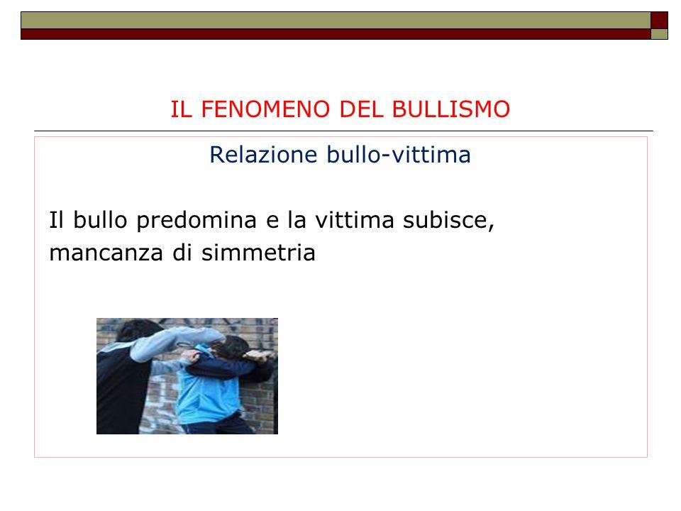 IL FENOMENO DEL BULLISMO Relazione bullo-vittima Il bullo predomina e la vittima subisce, mancanza di simmetria