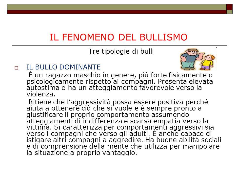 IL FENOMENO DEL BULLISMO Tre tipologie di bulli  IL BULLO DOMINANTE È un ragazzo maschio in genere, più forte fisicamente o psicologicamente rispetto