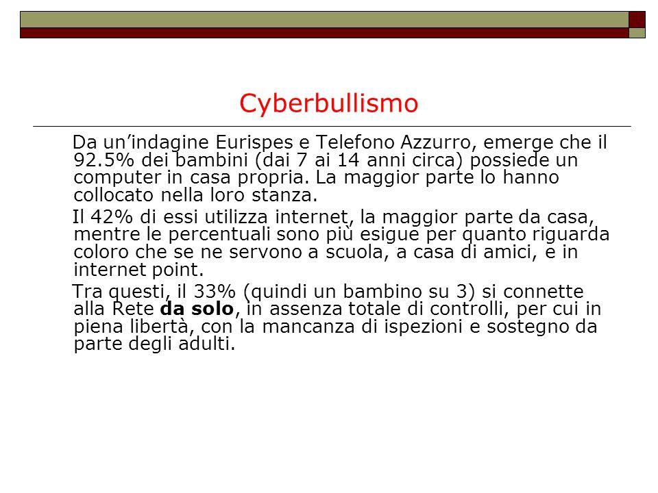 Cyberbullismo Da un'indagine Eurispes e Telefono Azzurro, emerge che il 92.5% dei bambini (dai 7 ai 14 anni circa) possiede un computer in casa propri