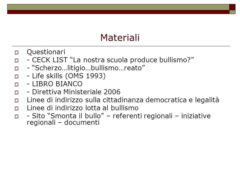 """Materiali  Questionari  - CECK LIST """"La nostra scuola produce bullismo?""""  - """"Scherzo…litigio…bullismo…reato""""  - Life skills (OMS 1993)  - LIBRO B"""