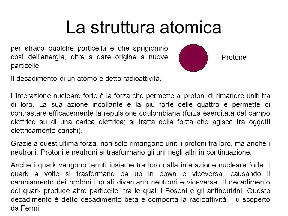 La struttura atomica Protone per strada qualche particella e che sprigionino così dell'energia, oltre a dare origine a nuove particelle. Il decadiment