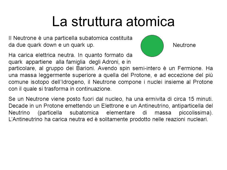 La struttura atomica Il Neutrone è una particella subatomica costituita da due quark down e un quark up. Ha carica elettrica neutra. In quanto formato