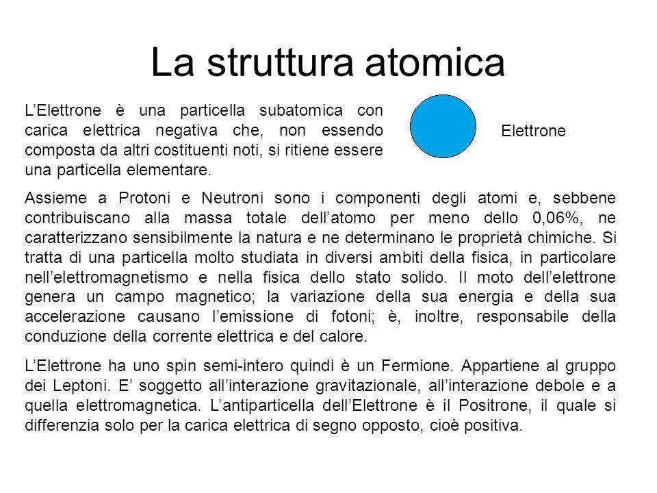 La struttura atomica L'Elettrone è una particella subatomica con carica elettrica negativa che, non essendo composta da altri costituenti noti, si ritiene essere una particella elementare.