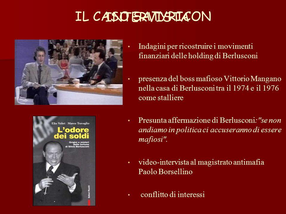 IL CASO SATYRICON Indagini per ricostruire i movimenti finanziari delle holding di Berlusconi presenza del boss mafioso Vittorio Mangano nella casa di Berlusconi tra il 1974 e il 1976 come stalliere Presunta affermazione di Berlusconi: se non andiamo in politica ci accuseranno di essere mafiosi .
