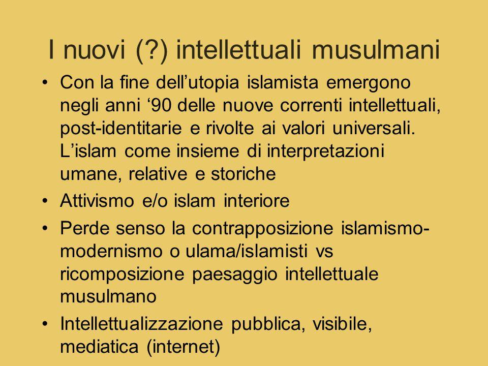 I nuovi (?) intellettuali musulmani Con la fine dell'utopia islamista emergono negli anni '90 delle nuove correnti intellettuali, post-identitarie e rivolte ai valori universali.
