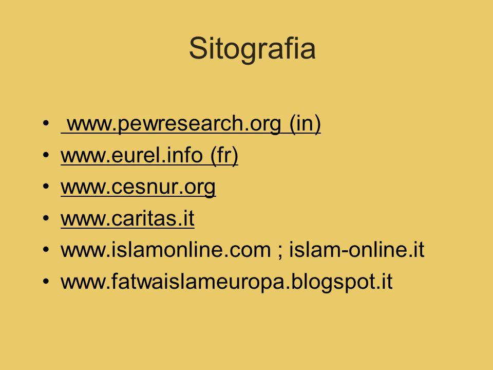 Sitografia www.pewresearch.org (in) www.eurel.info (fr) www.cesnur.org www.caritas.it www.islamonline.com ; islam-online.it www.fatwaislameuropa.blogs