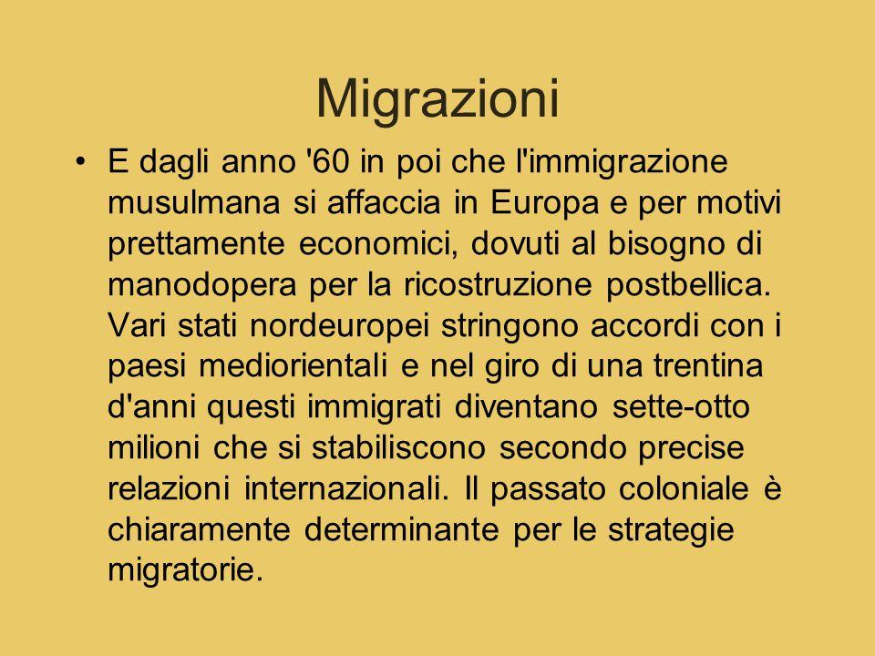 Migrazioni E dagli anno '60 in poi che l'immigrazione musulmana si affaccia in Europa e per motivi prettamente economici, dovuti al bisogno di manodop