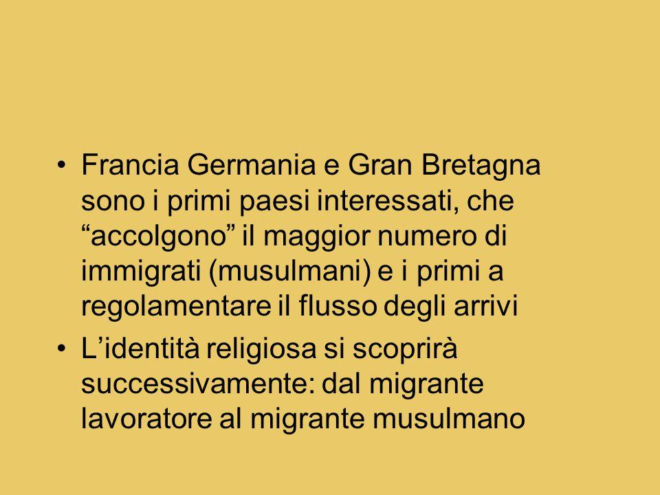 Francia Germania e Gran Bretagna sono i primi paesi interessati, che accolgono il maggior numero di immigrati (musulmani) e i primi a regolamentare il flusso degli arrivi L'identità religiosa si scoprirà successivamente: dal migrante lavoratore al migrante musulmano