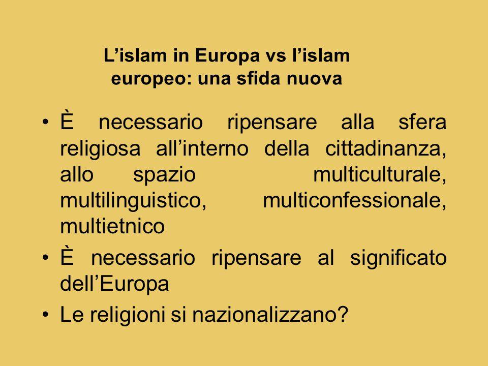 È necessario ripensare alla sfera religiosa all'interno della cittadinanza, allo spazio multiculturale, multilinguistico, multiconfessionale, multietnico È necessario ripensare al significato dell'Europa Le religioni si nazionalizzano.