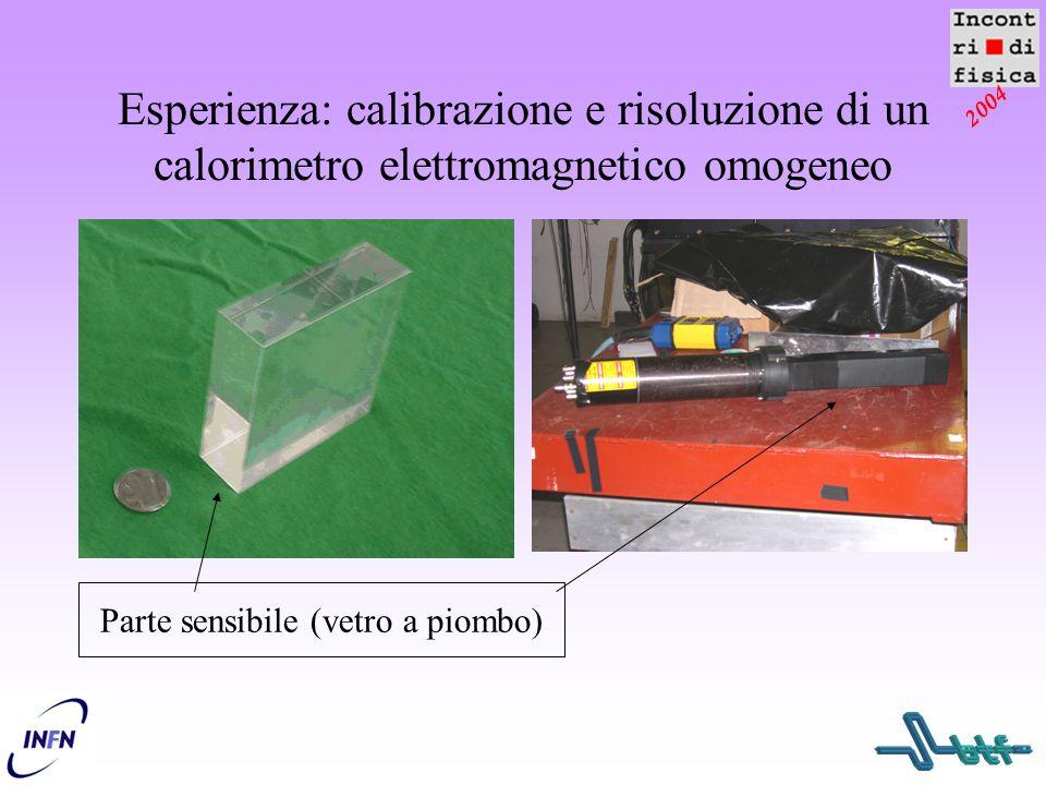 2004 Esperienza: calibrazione e risoluzione di un calorimetro elettromagnetico omogeneo Parte sensibile (vetro a piombo)