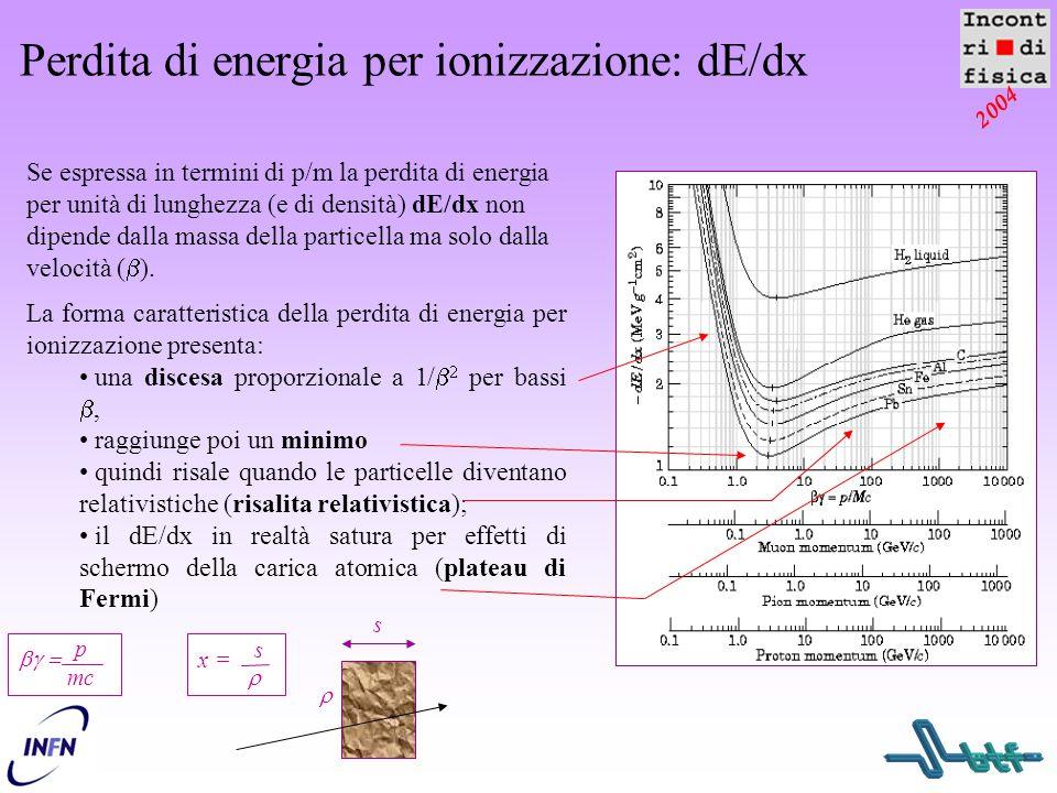 2004 Perdita di energia per ionizzazione: dE/dx   p mc La forma caratteristica della perdita di energia per ionizzazione presenta: una discesa prop