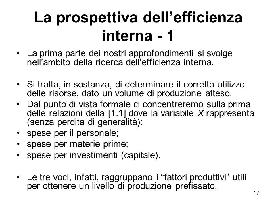 17 La prospettiva dell'efficienza interna - 1 La prima parte dei nostri approfondimenti si svolge nell'ambito della ricerca dell'efficienza interna. S