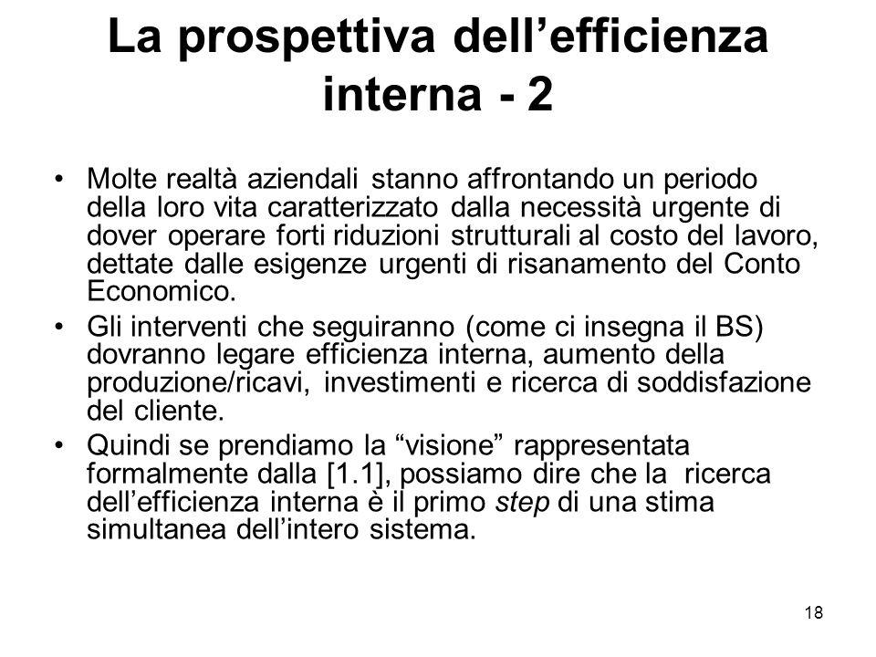 18 La prospettiva dell'efficienza interna - 2 Molte realtà aziendali stanno affrontando un periodo della loro vita caratterizzato dalla necessità urge