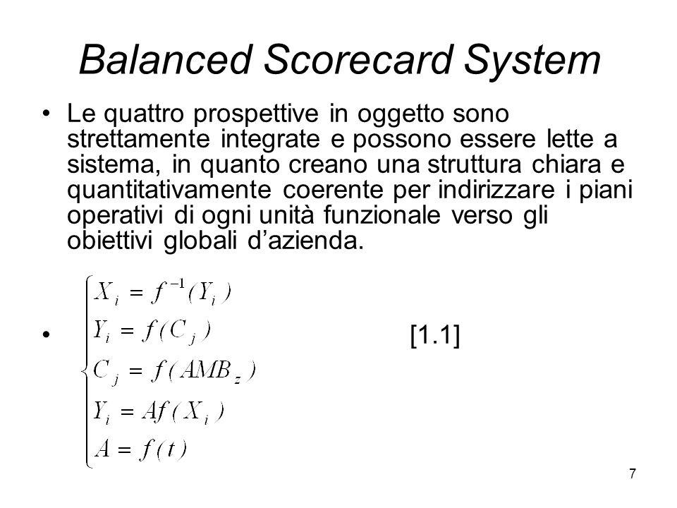 7 Balanced Scorecard System Le quattro prospettive in oggetto sono strettamente integrate e possono essere lette a sistema, in quanto creano una strut