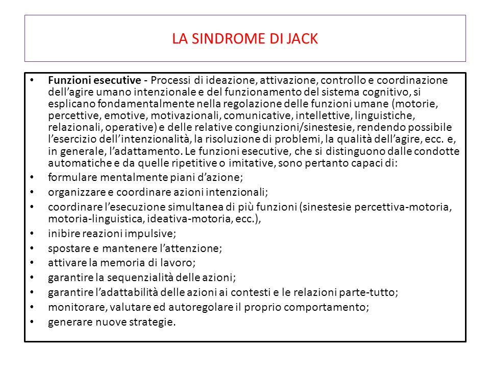 LA SINDROME DI JACK Funzioni esecutive - Processi di ideazione, attivazione, controllo e coordinazione dell'agire umano intenzionale e del funzionamen