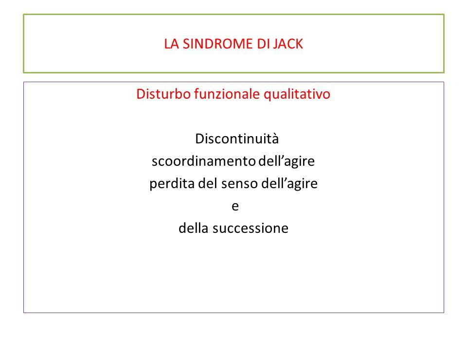 LA SINDROME DI JACK Disturbo funzionale qualitativo Discontinuità scoordinamento dell'agire perdita del senso dell'agire e della successione
