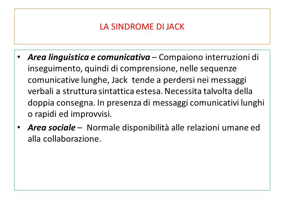 LA SINDROME DI JACK Area linguistica e comunicativa – Compaiono interruzioni di inseguimento, quindi di comprensione, nelle sequenze comunicative lung