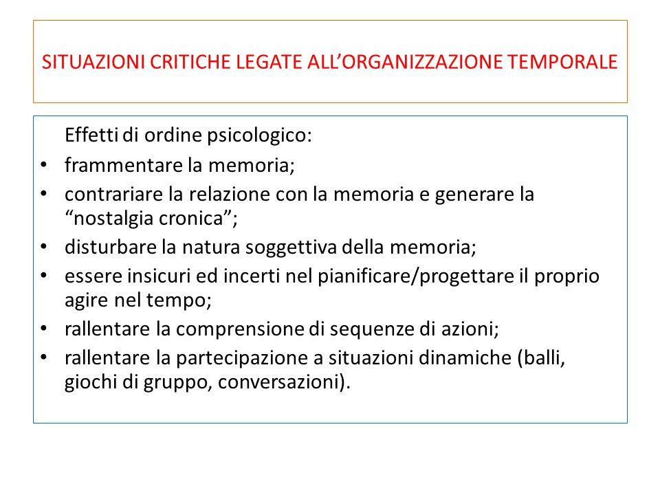 SITUAZIONI CRITICHE LEGATE ALL'ORGANIZZAZIONE TEMPORALE Effetti di ordine psicologico: frammentare la memoria; contrariare la relazione con la memoria