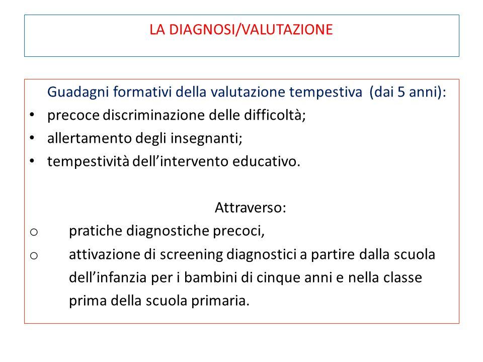 LA DIAGNOSI/VALUTAZIONE Guadagni formativi della valutazione tempestiva (dai 5 anni): precoce discriminazione delle difficoltà; allertamento degli ins