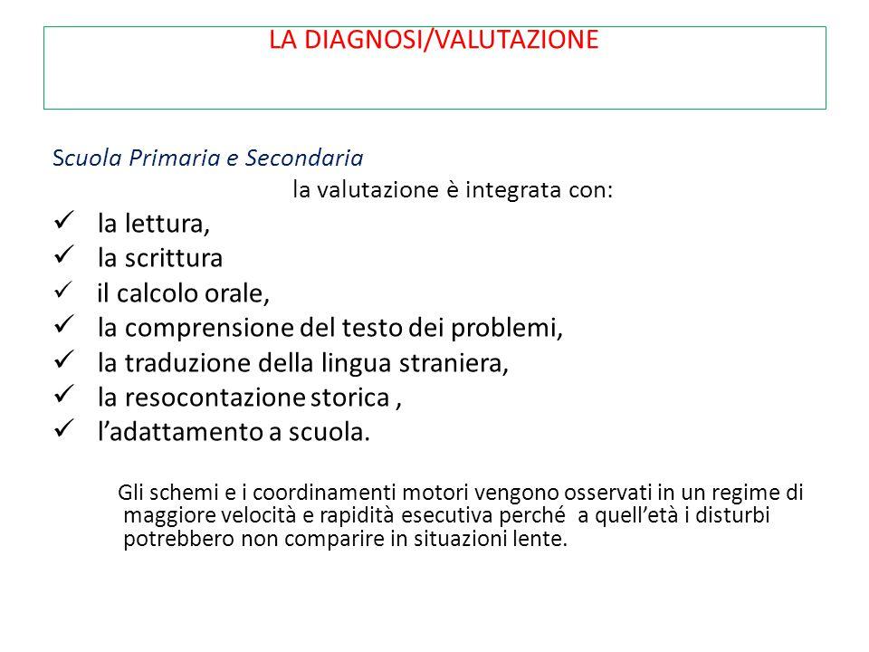 LA DIAGNOSI/VALUTAZIONE Scuola Primaria e Secondaria la valutazione è integrata con: la lettura, la scrittura il calcolo orale, la comprensione del te