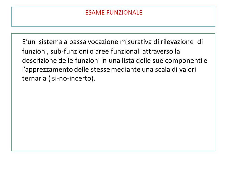 ESAME FUNZIONALE E'un sistema a bassa vocazione misurativa di rilevazione di funzioni, sub-funzioni o aree funzionali attraverso la descrizione delle