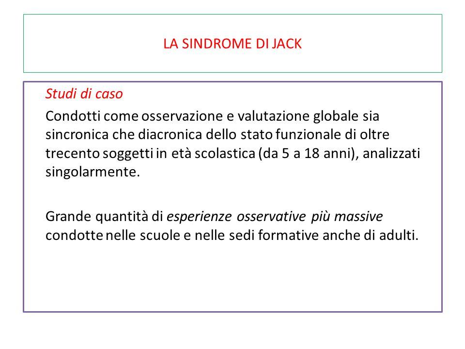 LA SINDROME DI JACK Studi di caso Condotti come osservazione e valutazione globale sia sincronica che diacronica dello stato funzionale di oltre trece