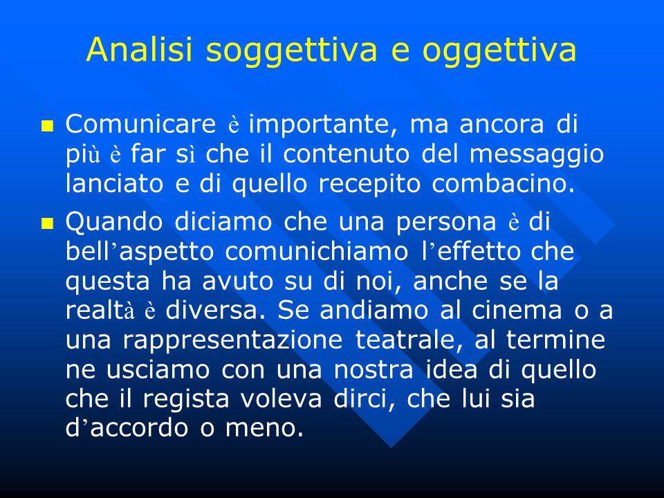 Analisi soggettiva e oggettiva Comunicare è importante, ma ancora di pi ù è far s ì che il contenuto del messaggio lanciato e di quello recepito comba