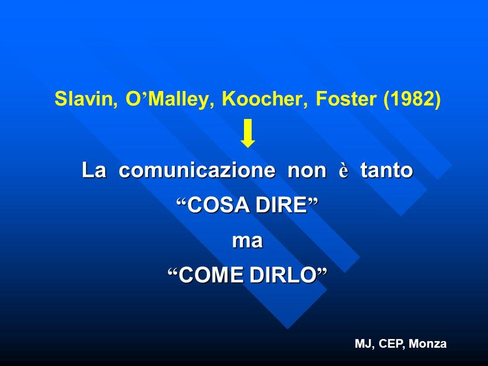 """Slavin, O ' Malley, Koocher, Foster (1982) La comunicazione non è tanto """" COSA DIRE """" ma """" COME DIRLO """" MJ, CEP, Monza"""