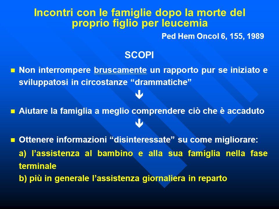 Incontri con le famiglie dopo la morte del proprio figlio per leucemia Ped Hem Oncol 6, 155, 1989 SCOPI Non interrompere bruscamente un rapporto pur s