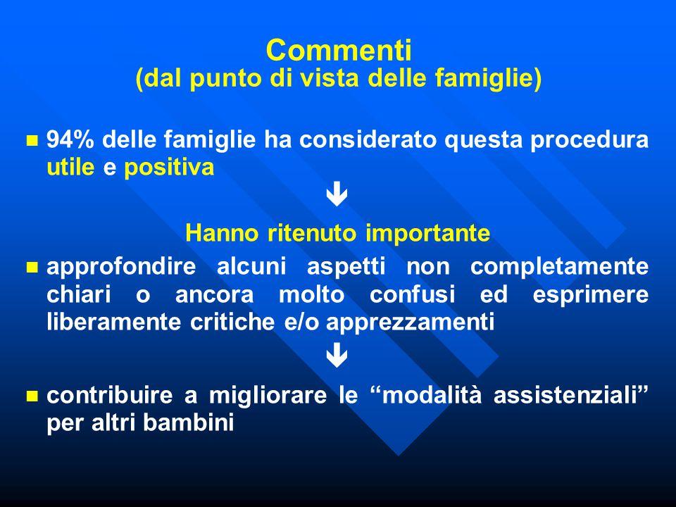 Commenti (dal punto di vista delle famiglie) 94% delle famiglie ha considerato questa procedura utile e positiva  Hanno ritenuto importante approfond