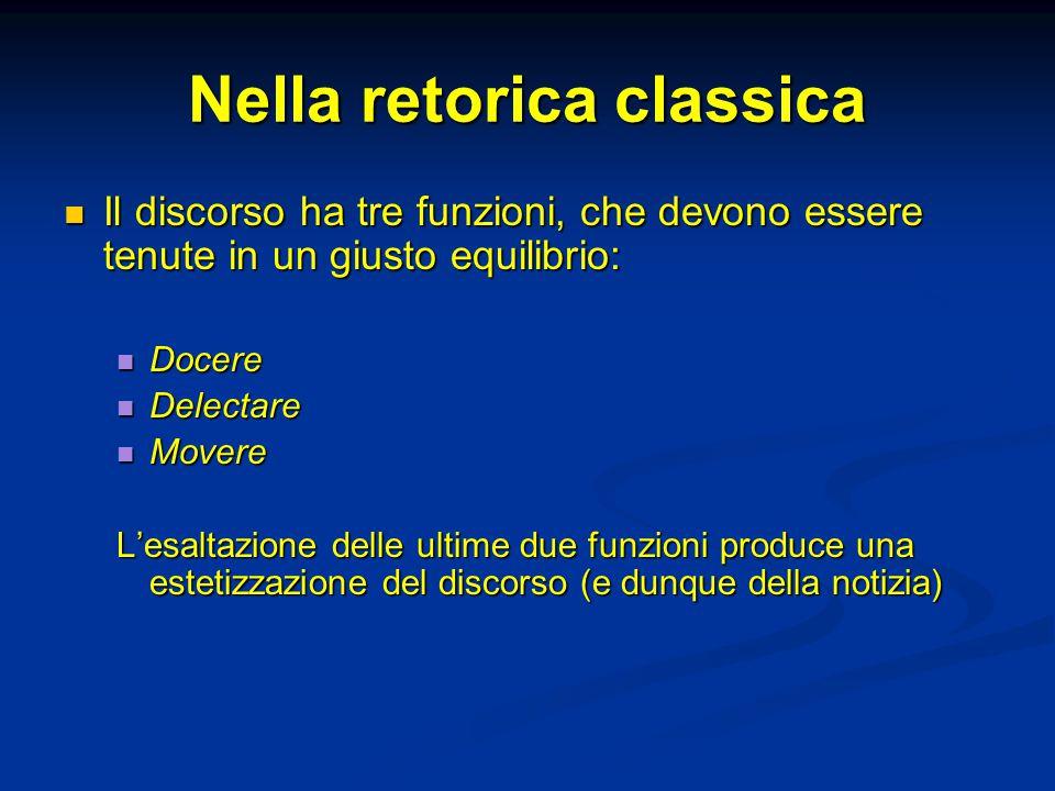 Nella retorica classica Il discorso ha tre funzioni, che devono essere tenute in un giusto equilibrio: Il discorso ha tre funzioni, che devono essere