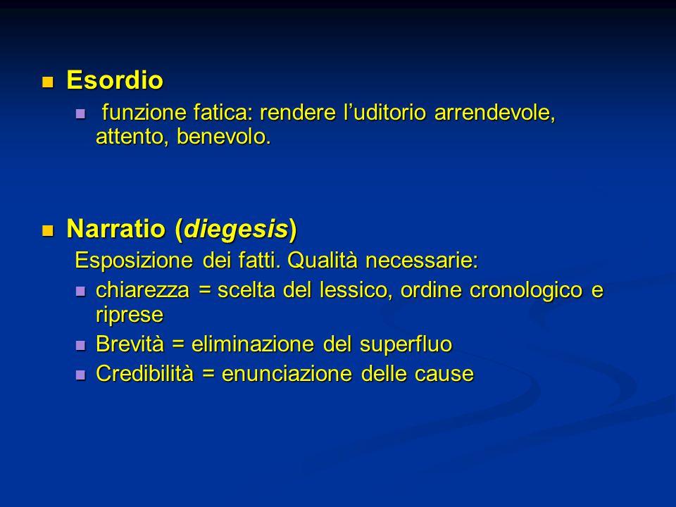 Esordio Esordio funzione fatica: rendere l'uditorio arrendevole, attento, benevolo.