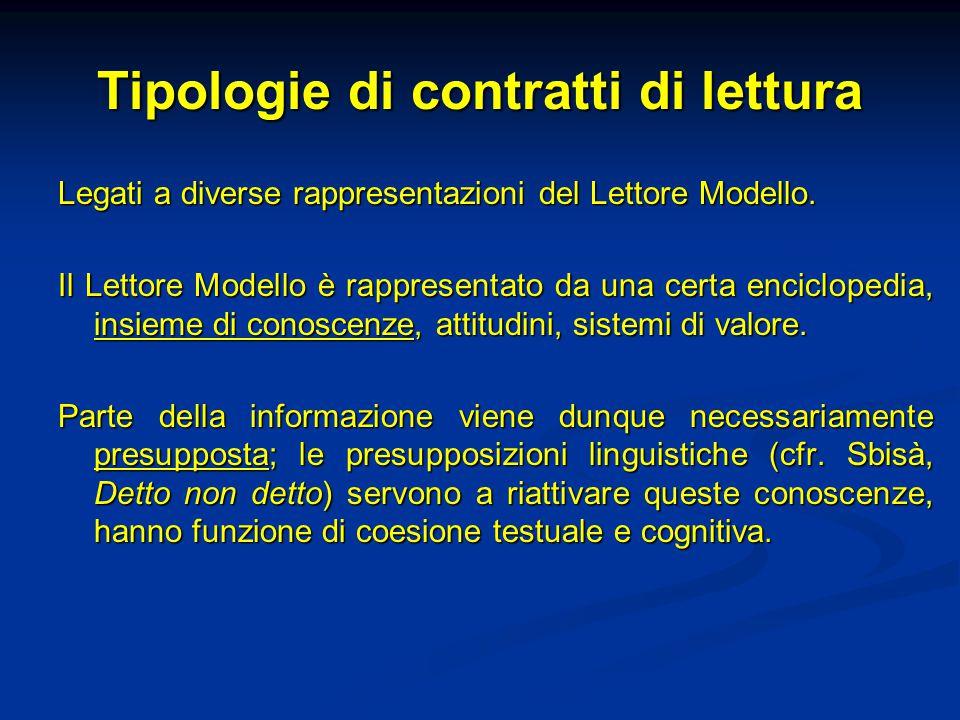 Tipologie di contratti di lettura Legati a diverse rappresentazioni del Lettore Modello. Il Lettore Modello è rappresentato da una certa enciclopedia,