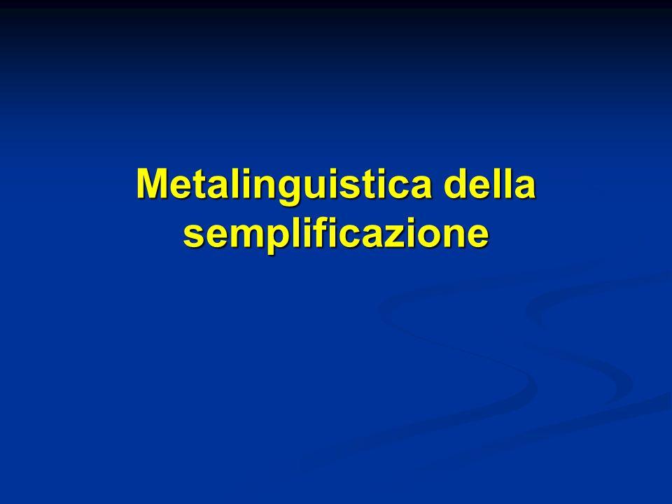 Metalinguistica della semplificazione
