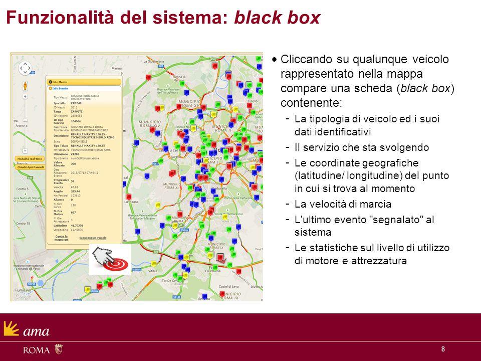 8 Cliccando su qualunque veicolo rappresentato nella mappa compare una scheda (black box) contenente: - La tipologia di veicolo ed i suoi dati identif