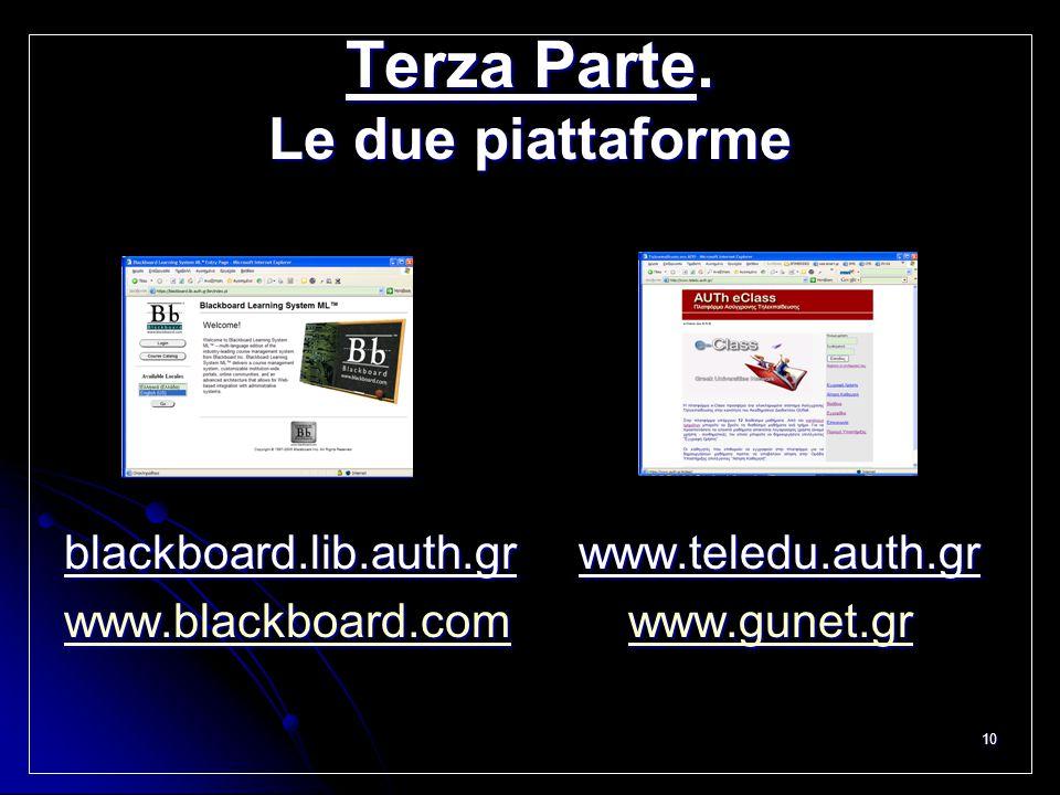 10 Terza Parte. Le due piattaforme blackboard.lib.auth.gr www.teledu.auth.gr www.blackboard.comwww.blackboard.com www.gunet.gr www.gunet.gr www.blackb