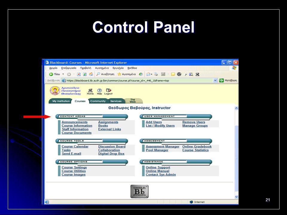21 Control Panel