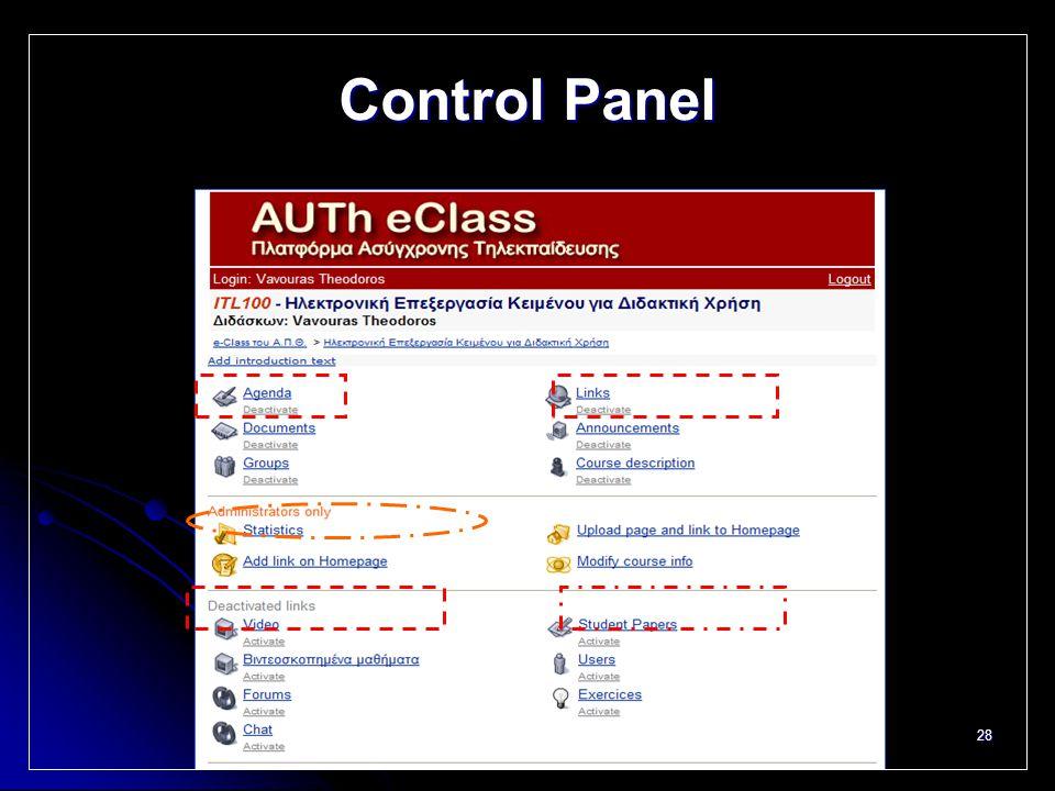 28 Control Panel