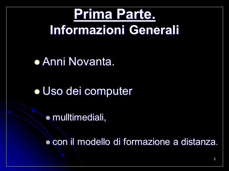 3 Prima Parte. Informazioni Generali Anni Novanta. Anni Novanta. Uso dei computer Uso dei computer mulltimediali, mulltimediali, con il modello di for