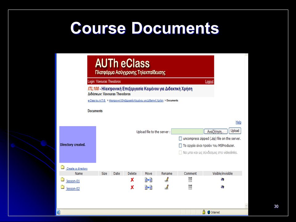 30 Course Documents
