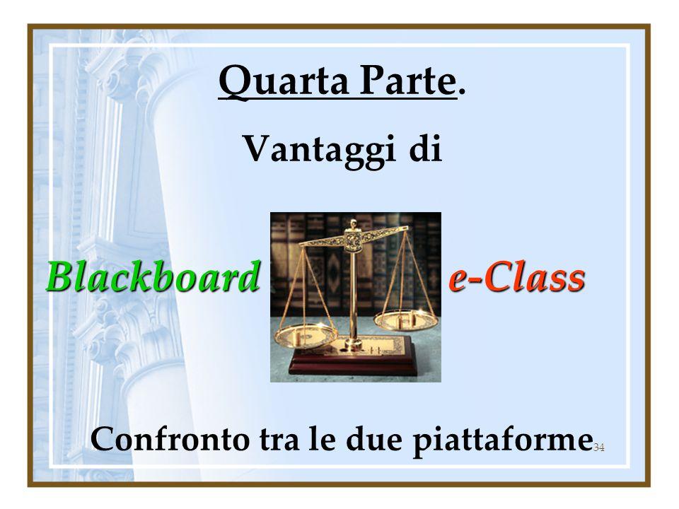34 Quarta Parte. Vantaggi di Confronto tra le due piattaforme Blackboard Blackboarde-Class