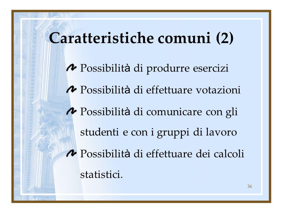 36 Caratteristiche comuni (2) Possibilit à di produrre esercizi Possibilit à di effettuare votazioni Possibilit à di comunicare con gli studenti e con