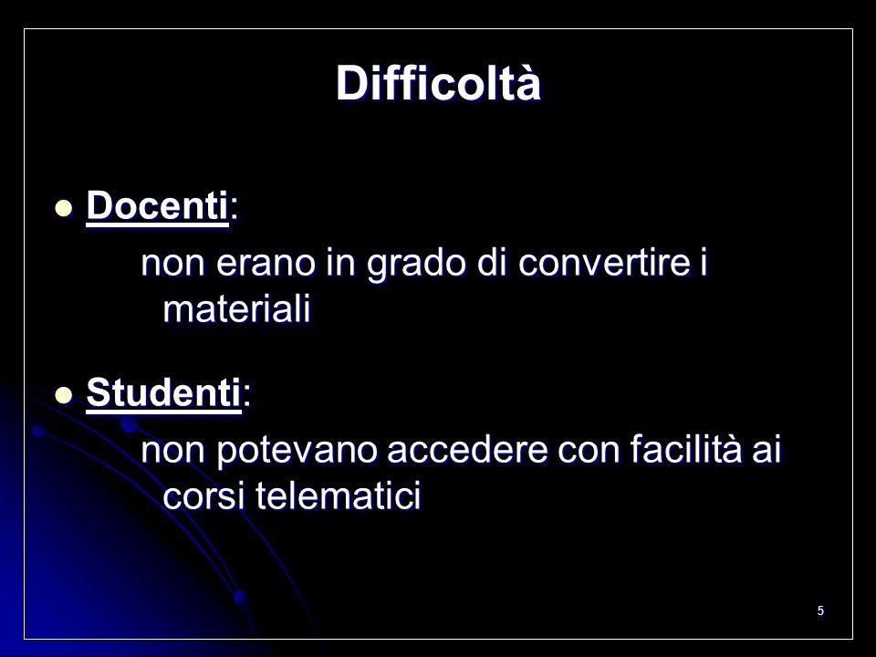 5 Difficoltà Docenti: Docenti: non erano in grado di convertire i materiali Studenti: Studenti: non potevano accedere con facilità ai corsi telematici